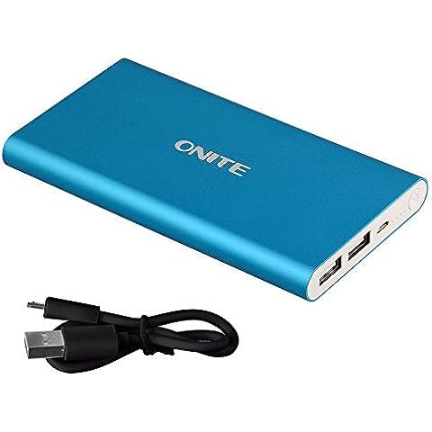 Onite 10000mah  Batería externa del cargador portátil Power Bank con doble puerto USB para iPhone 6 6S Plus 5S 5C 5 4 iPad Samsung Galaxy S6 S5 4 HTC Nokia PS Vita y más -Plateado (azul)