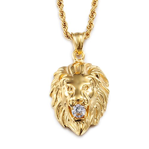 Heyrock Shiny Crystal Gold Plated Lion Head Pendant Men's 316L Stainless Steel Animal Long Chain Necklace