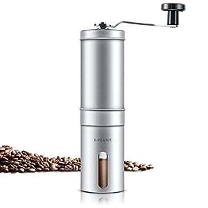 E-PRANCE Moulin à café Broyeur À Café manuel Hand Coffee Grinder Grande grain de café Espresso avec des meuleuses en céramique, en acier inoxydable