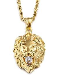 Collar largo Heyrock de acero inoxidable 316 con colgante en forma de cabeza de león chapado en oro con cristal reluciente para hombre