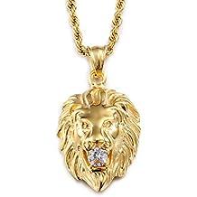 Collar largo, Heyrock, de acero inoxidable 316L, con colgante en forma de cabeza de león, enchapado en oro, con cristal reluciente, para hombres
