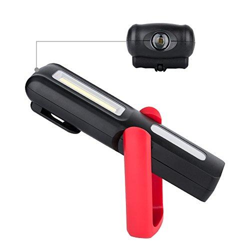 Eletorot Recargable Linterna de trabajo  lámpara de inspección 3W LED COB Portátil Linterna con magnético soporte y gancho colgante  para Emergencia Taller Automóviles