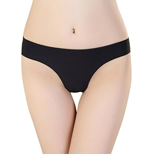 FORH-Unterwäsche Damen Dessous Frauen Unsichtbare Tanga Baumwolle Nahtlose G-String Heiße Mode Höschen Thin Thongs Knickers (Schwarz) -