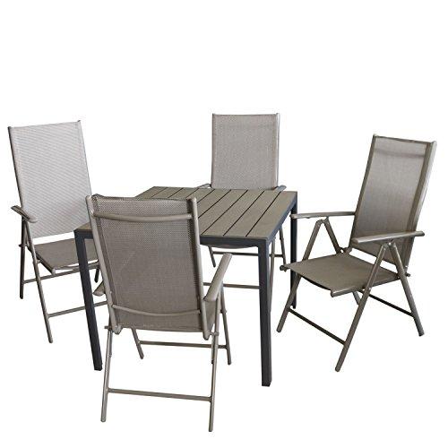 Multistore 2002 5tlg. Bistrogarnitur Aluminium Gartentisch mit Polywood Tischplatte 90x90cm + 4X Hochlehner mit 7-Fach Verstellbarer Rückenlehne Textilenbespannung Gartengarnitur