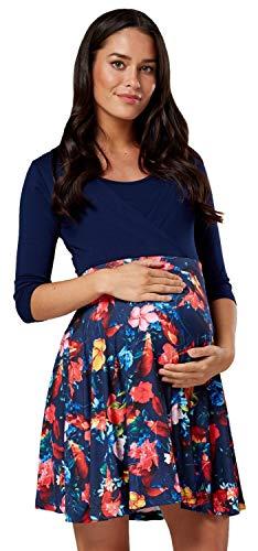 Happy mama. donna vestito prémaman per l'allattamento abito con maniche 3/4 603p (marina con fiori, it 44, l)