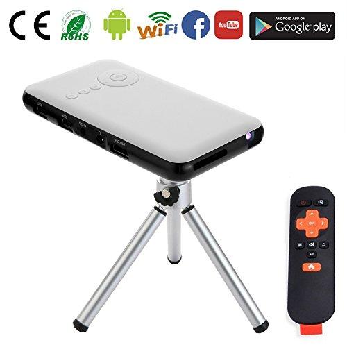 Yuancin Smart Mini projecteur portatif sans fil Android - Caractéristiques avec 2.4G + 5.8G double sortie Wifi HDMI - Miracast et Airplay fonction-Slim sans fil HD DLP portables Pico Cell Home Cinema Pocket Projector