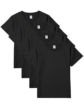 LAPASA Kinder T Shirt Unterhemd Unisex Einfarbig Rundhals Baumwolle 4er Pack K01