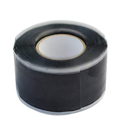 Lystaii Selbstklebendes Silikonkautschuk Klebeband Wasserdichtes, schnelles Reparaturband für Notfälle Schwarz -
