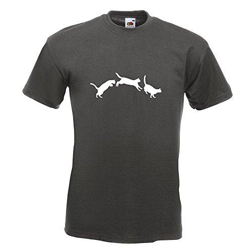 KIWISTAR - springende Katzen - Love T-Shirt in 15 verschiedenen Farben - Herren Funshirt bedruckt Design Sprüche Spruch Motive Oberteil Baumwolle Print Größe S M L XL XXL Graphit