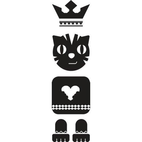 Set di adesivi Totem Cat, Nero