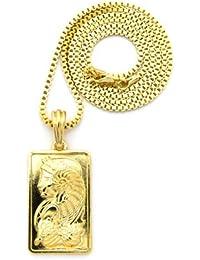 Original collier couleur or à pendentif rectangulaire à image d'une corne d'argent, chaîne cubique l.2 mm L.61 cm XSP409GBX