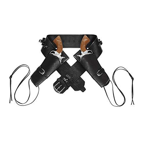 WIDMANN 01052 - Cowboygürtel schwarz, mit 2 Tasche aus Lederimitat