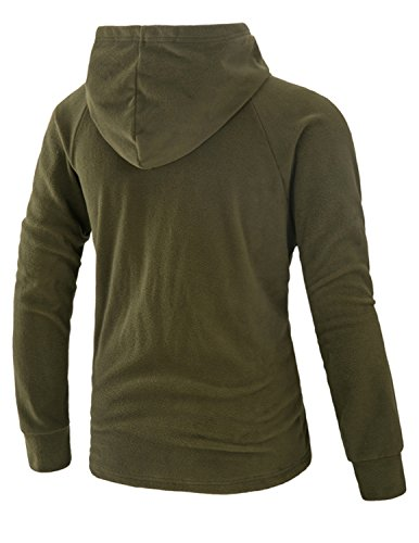 Boom Fashion Herren Kapuzenpullover Langarm Polar Fleece Jacke Kapuze Hoodie Sweatshirt Grün