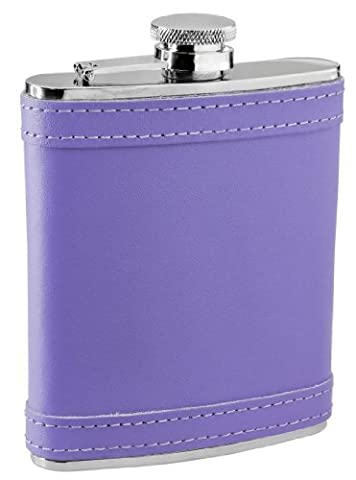 Visol Lave Leather Stainless Steel Liquor Flask, 6-Ounce, Lavender by Visol Products
