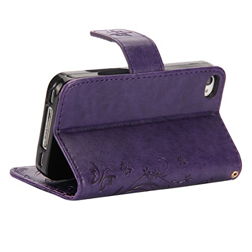 iPhone SE Hülle, iPhone 5S Hülle,SainCat iPhone SE/5S Ledertasche Brieftasche im BookStyle PU Leder Wallet Case Folio Strass Schmetterling Silk Muster Schutzhülle hülle Bumper Handytasche Skin Backcov Schmetterling Blumen-Lila