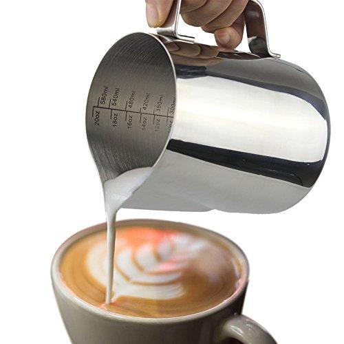 Acciaio inossidabile Dailyart-Bricco per latte- 20 oz (600ML) lanciatore latte che schiuma Cup due lati (Espresso Latte Art)