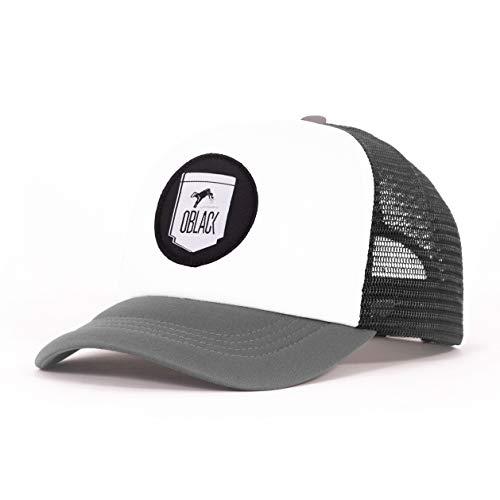 Oblack Gorra Trucker Gray Portland Gris Beisbol Ajustable con Visera Acolchada y Rejilla Negra - Gorras de Hombre