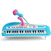 Shayson 37-tasto multi-funzione elettronica organo pianoforte tastiera con microfono giocattolo educativo per i più piccoli bambini (blu)