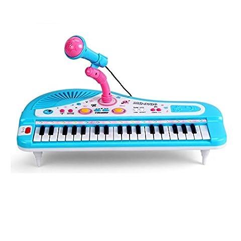 Shayson 37-Key Multi-Funktion elektronische Orgel Tasteninstrumente Klavier mit Mikrofon pädagogisches Spielzeug für Kleinkinder Kinder Kinder (Blau)