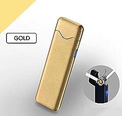 Idea Regalo - Accendino Elettrico USB Ricaricabile. Accendino Senza Fiamma con Cofanetto Regalo (D'oro)