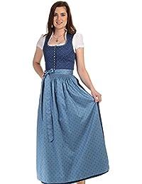 Turi Landhaus Damen Dirndl lang Dirndl Baumwolle Kleid Tracht Damen lang Dirndl Stehkragen
