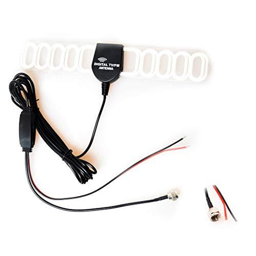 Auto Kfz FM/AM Antenne Verstärker Verbinder Klebeantenne Booster Universal Antennenkabel für Analog/Digital DVB-T ATSC ISDB TV(F + Radio + Leistung Stecker) -