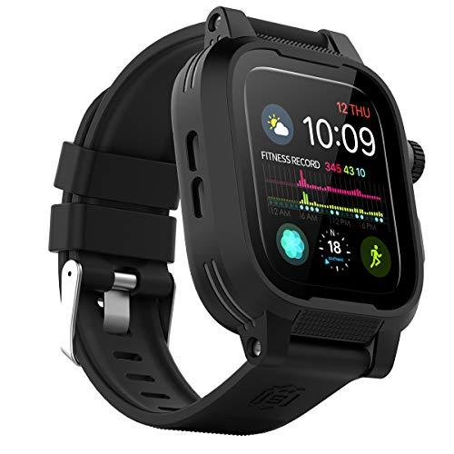 Kompatibel mit Apple Watch 4 Hülle 44mm,IP68 wasserdichte Stoßfest Robuste Schutzhülle mit eingebautem Displayschutz und Ersatzarmband für Apple Watch Serie 4 [44 mm]