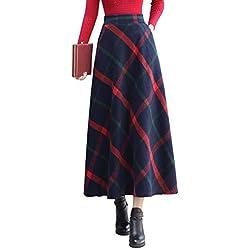 Vintage Rayas Cuadros Caliente Larga Falda Otoño de Las Mujeres y la Moda de Invierno Elegante Falda de Lana de Alta Cintura A-Line Cintura elástica (M, Rojo y Azul)