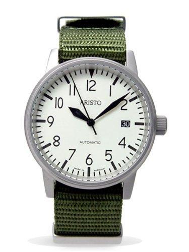 Aristo 3H41 - Reloj para Hombres, Correa de Tela Color Verde