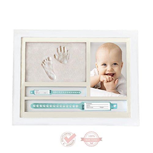Kit cornice porta foto con impronta neonato mani e piedi e porta bracciali di nascita, originale idea regalo per nascita e battesimo, cornice da tavolo e da parete