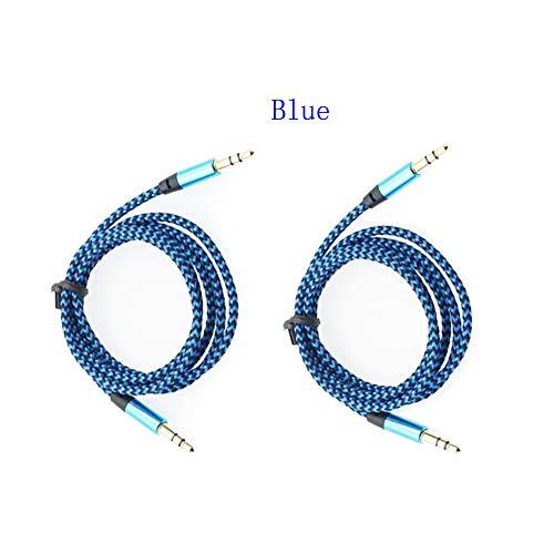 XiYu Audiokabel geflochtene Kabel 3,5 mm auf 3,5 mm Auxiliary AUX Wire Stereo Car (2 Stück) blau Car Stereo Wire Adapter