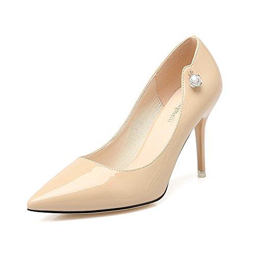 AalarDom Femme à Talon Correct Pointu Tire Couleur Unie Chaussures Légeres Abricot-Comme Les Bijoux Gros
