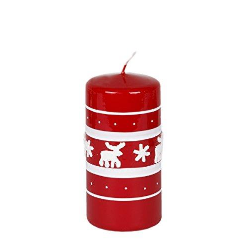 Vela Vela de Navidad 120mm de diámetro de 58mm Navidad Reno Color Rojo lacado