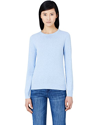 MERAKI Baumwoll-Pullover Damen mit Rundhals, Blau (Ocean Blue), 44 (Herstellergröße: XX-Large) (Bekleidung Blue Ocean)