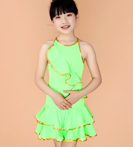 Latin Praxis Röcke Kinder Latein-Tanzkleidung Leistungskleidung Kostüme Kleidung Kinderkostümwettbewerb tanzen , 140cm , green (Tanz Kostüme Latin Rock)