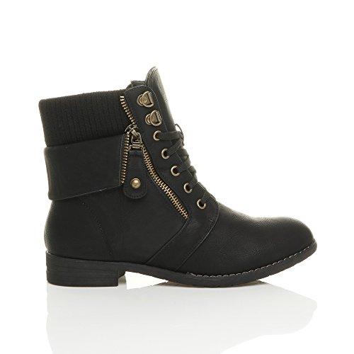 Damen Schnüren Reißverschluss Strickkragen Biker Worker Boots Stiefel Schuhe Militär Stiefeletten Größe Schwarz
