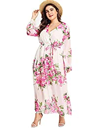 ce808c017b3 Floerns Women s Plus Size V Neck Long Sleeve Tie Waist Floral Maxi Wrap  Dress