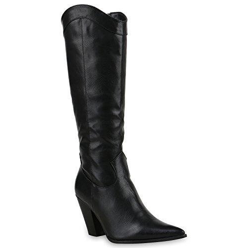 Damen Cowboy Stiefel Langschaft Western Boots Leder-Optik Schuhe 128571 Schwarz Schwarz 37 Flandell (Cowgirl Boot Schuh Western)