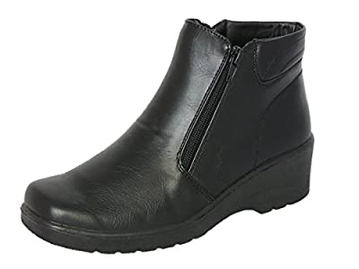 Cushion Walk Women's Black Low Wedge Ankle Boots With Double Zip Fastening & Non-Slip Sole - Sizes 3-8