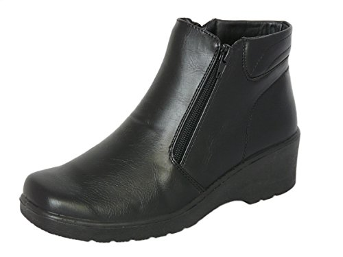98378612b8f Cushion Walk Women s Black Low Wedge Ankle Boots with Double Zip Fastening.