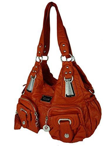 Kumixi 7114 Borsa Da Donna Spaziosa, Borsa Leni, Vari Colori 35x25x12 Arancio