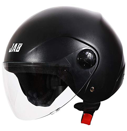 Steelbird SB-02 Classic Jab open Face Helmet for Men and Women (Large 600 MM, Natural Black with Plain Visor)