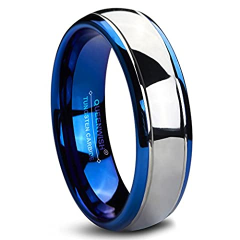 Queenwish 6mm Tungsten Carbide Wedding Bands Blue Silver Dome Gunmetal Engagement Bridal Rings Comfort Fit Men Women
