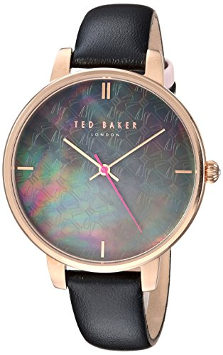 Ted Baker Womens Kate Black Mother Of Pearl Dial Rose Gold Case TEC0025001