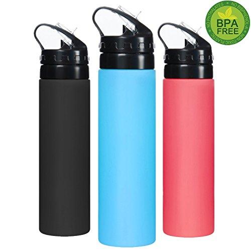 SOFIT SH-02 BPA Frei Silikon Faltbare Trinkflasche Mit 600ML, Platzsparend, leicht zu reinigen, Zusammenklappbare Wasserflasche Ultra-leicht(168g), Sportflasche für Jogging Workouts Gym Camping Travel Yoga (Große Pda-fall)