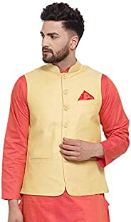 NEUDIS by Dhrohar Textured Cotton Nehru Jacket/Waistcoat For Men - Yellow