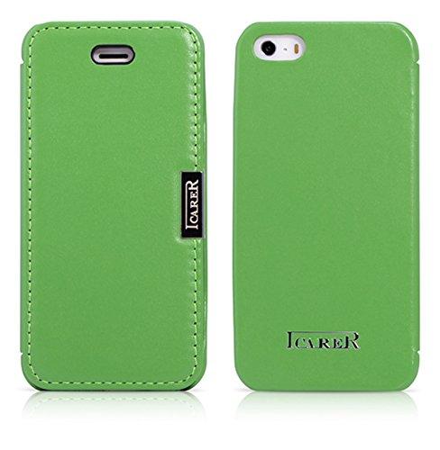 Luxus Tasche für Apple iPhone SE , iPhone 5S und iPhone 5 / Case Außenseite aus Echt-Leder / Innenseite aus Textil / Schutz-Hülle seitlich aufklappbar / ultra-slim Cover / Farbe: Grün Apple Farbe
