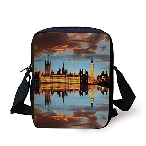 LULABE London,Splendent Scene of Big Ben Westminster Cloudy Night Thames River Image,Warm Taupe Orange Yellow Print Kids Crossbody Messenger Bag Purse -