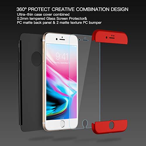 Losvick Coque iPhone 7, Housse 3 en 1 PC avec[360 degré Protection Complète] Protecteur D'écran en Verre Trempé, Cover Antichoc Anti-Rayures Ultra Mince Etui Bumper pour iPhone 7 - Noir et Rouge