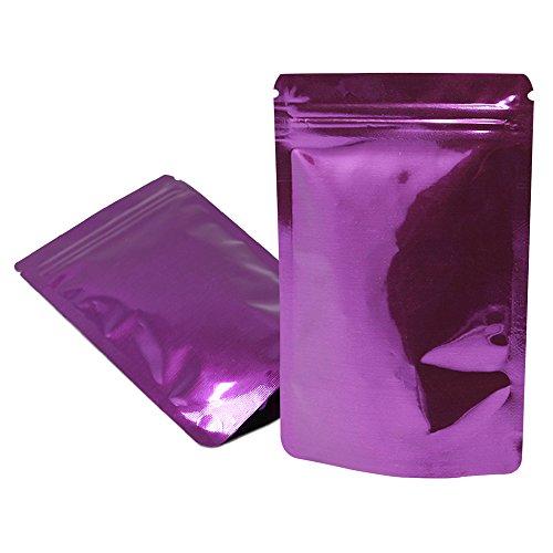 Multicolor Stehen Oben Aluminiumfolie Taschen Mylar Zip Lock Nüsse Lebensmittel Lagerung Verpackung Wiederverschließbare Heißsiegel Sack mit Reißen Food Grade 8.5x13cm 100Stück (Lila) Kann Lagerung Von Lebensmitteln